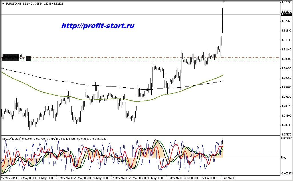 Торговля на форекс eur usd 06.06.13 h1