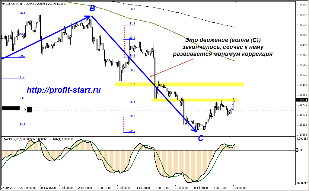Анализ евро h1 09.07.13